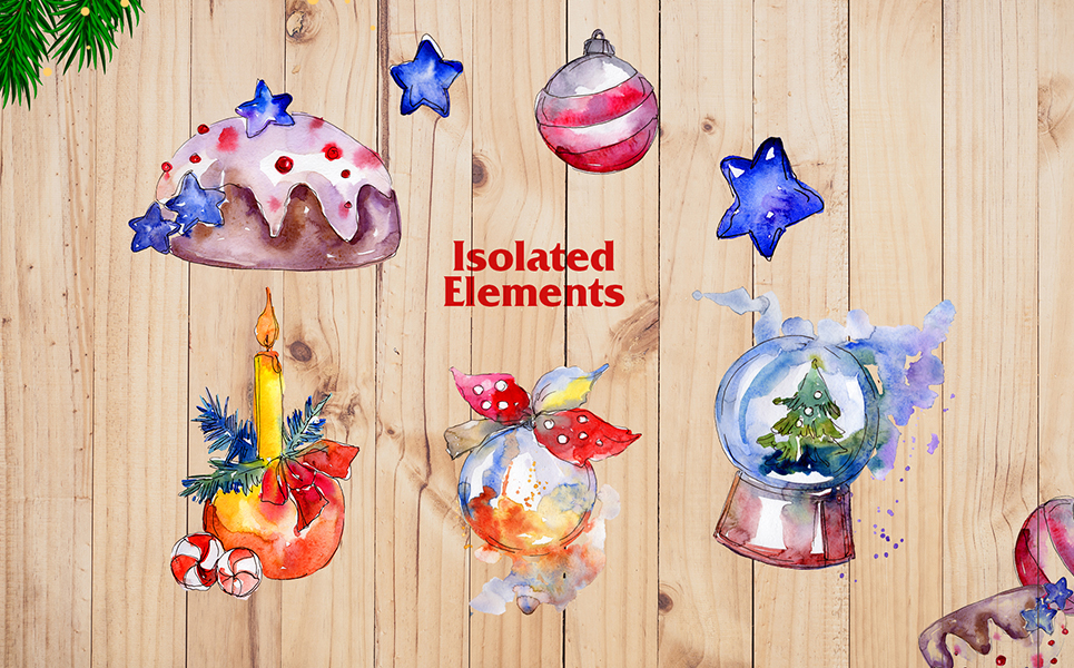 Christmas Balls Toy PNG Watercolor Set Illustrations