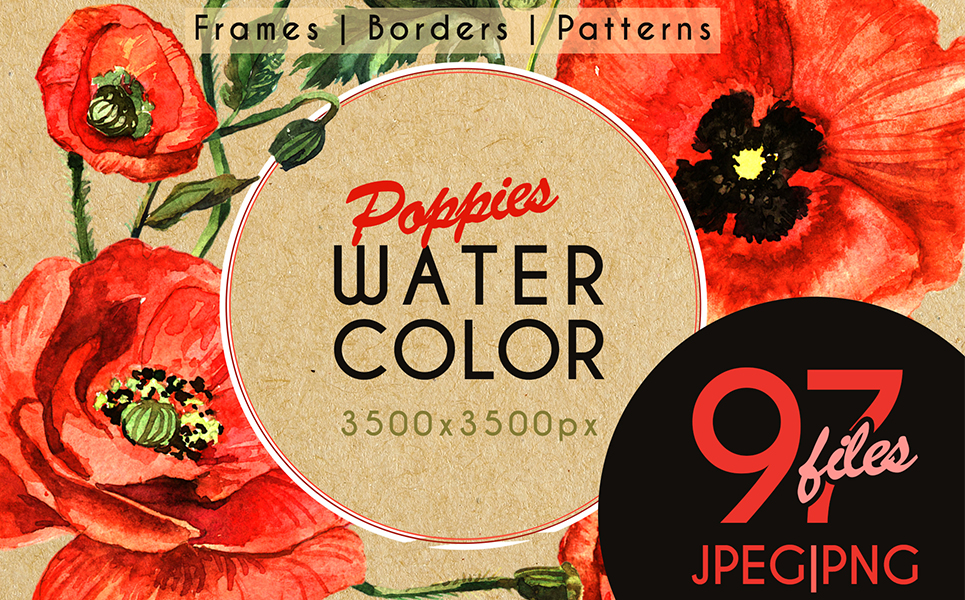 Stunning Poppies PNG Watercolor Set Illustrations