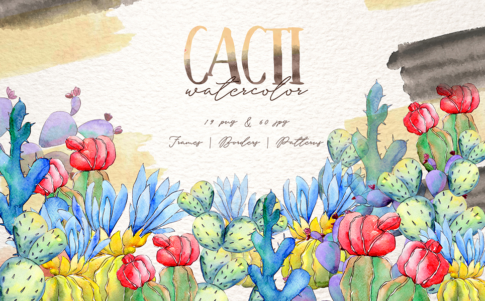 Cool Colorful Cacti PNG Watercolor Set Illustrations