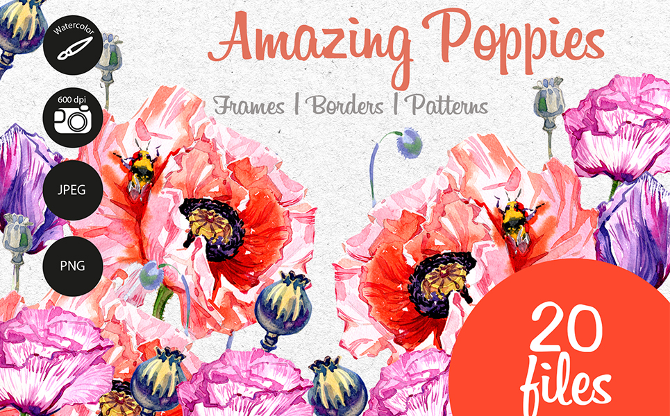 Amazing Poppies PNG Watercolor Set Illustrations