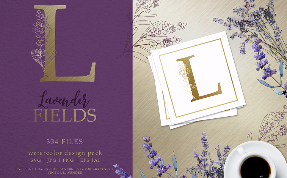 Lavender Fields Watercolor And Vector Pack Illustrations