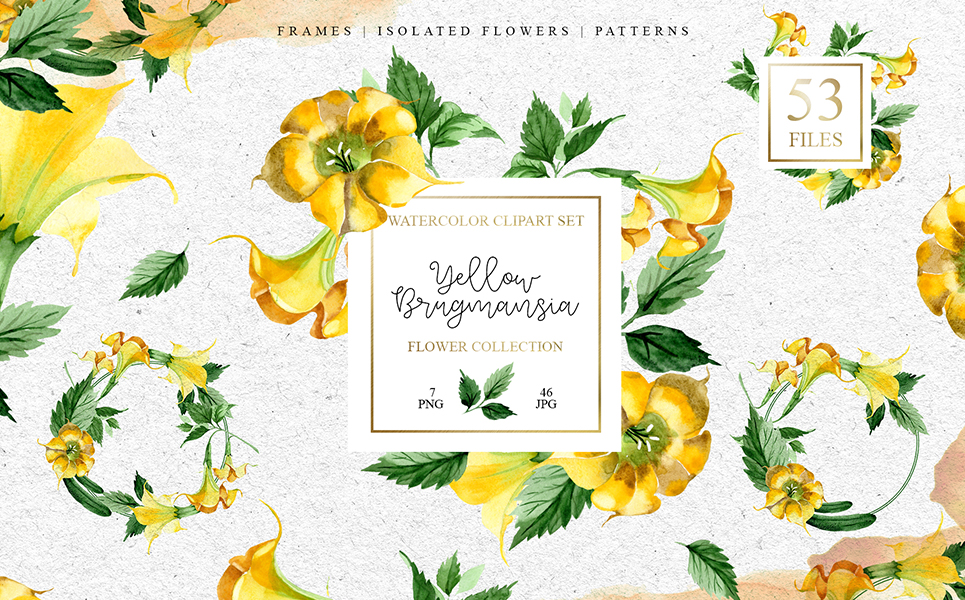 Yellow Brugmansia PNG Watercolor Set Illustrations