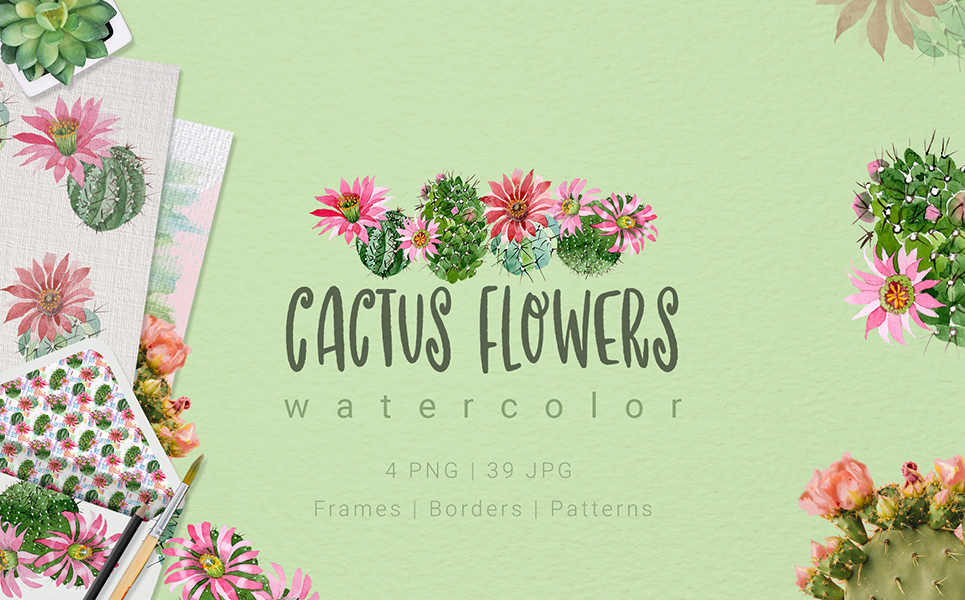 Cactus Flowers Watercolor Set Illustrations