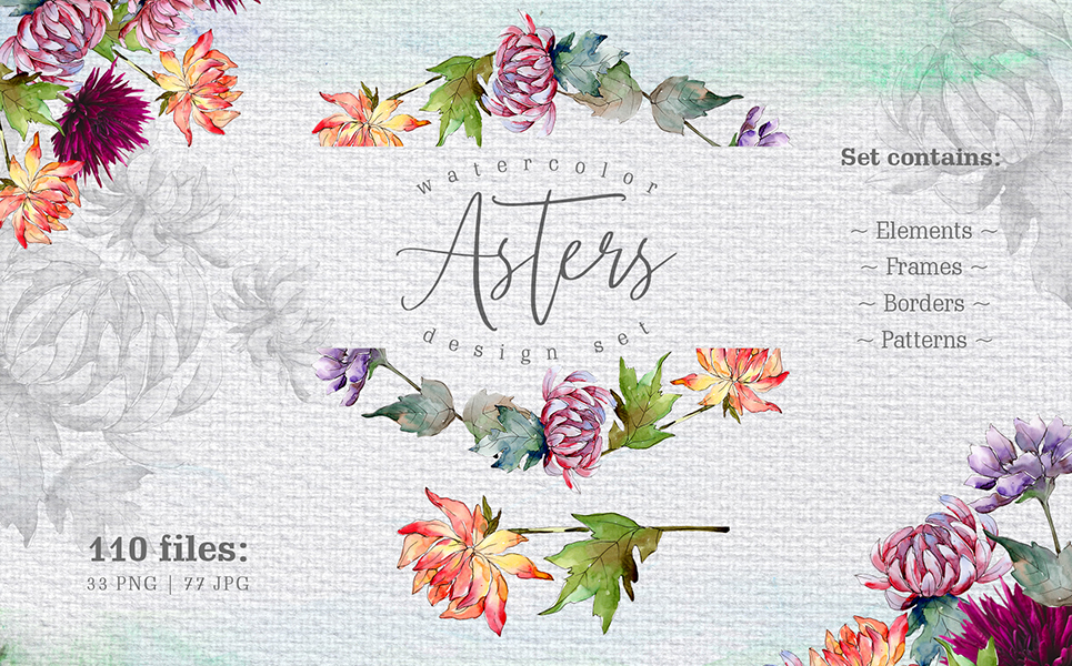 Watercolor Asters PNG Design Set Illustrations