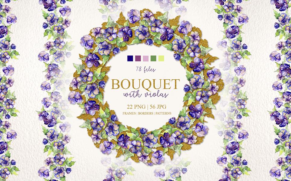Bouquet With Violas PNG Watercolor Set Illustrations