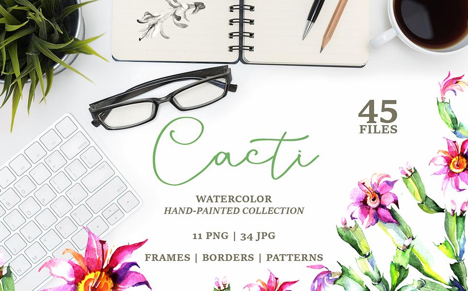 Cacti PNG Watercolor Set Illustrations