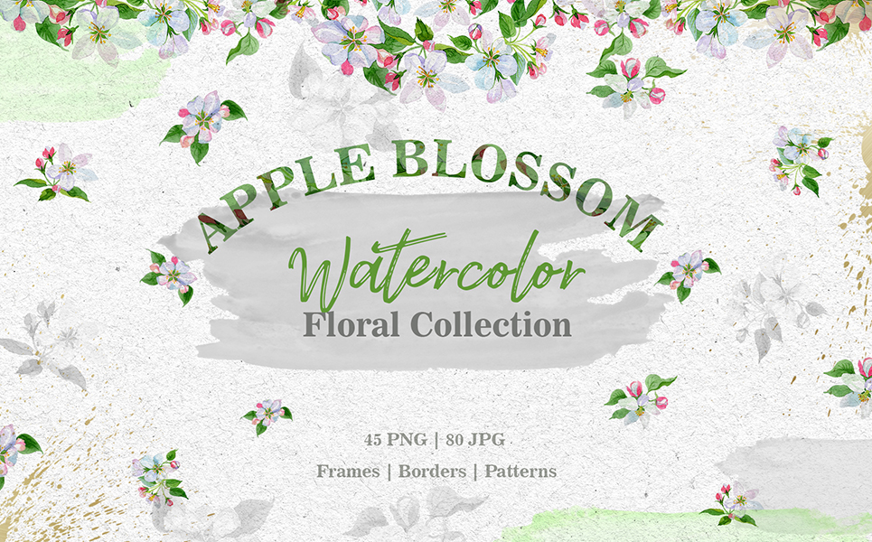 Apple Blossom PNG Watercolor Set Illustrations