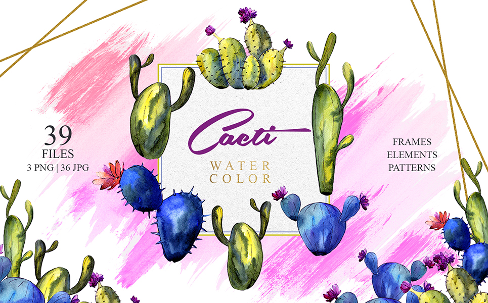 Green And Blue Cactuses PNG Watercolor Set Illustrations