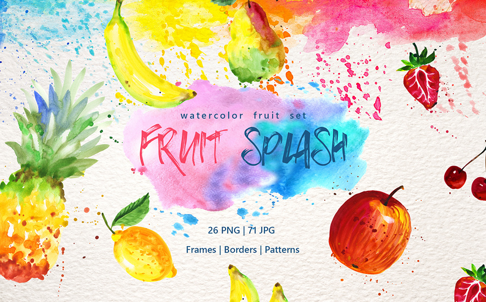 Watercolor Fruits PNG Set Illustrations