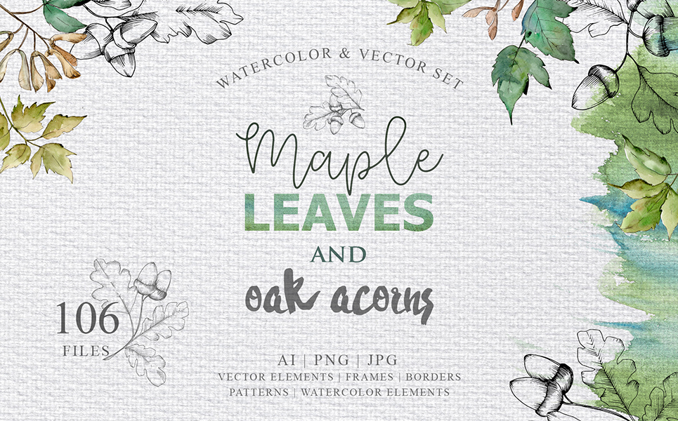 Maple Leaves and Oak Acorns Set Illustrations