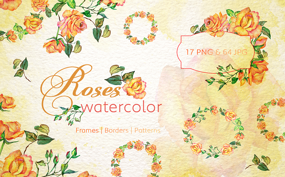Roses Watercolor Yellow png Illustrations