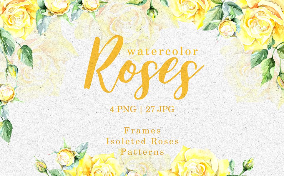 Roses Bright Yellow Watercolor Png Illustrations