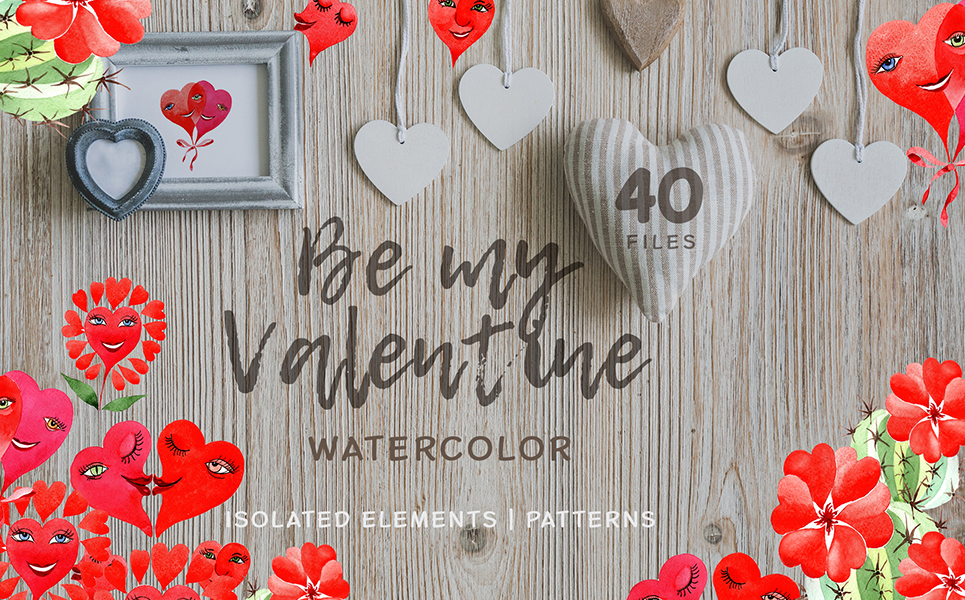 Valentine's Hearts Watercolor Png Illustrations