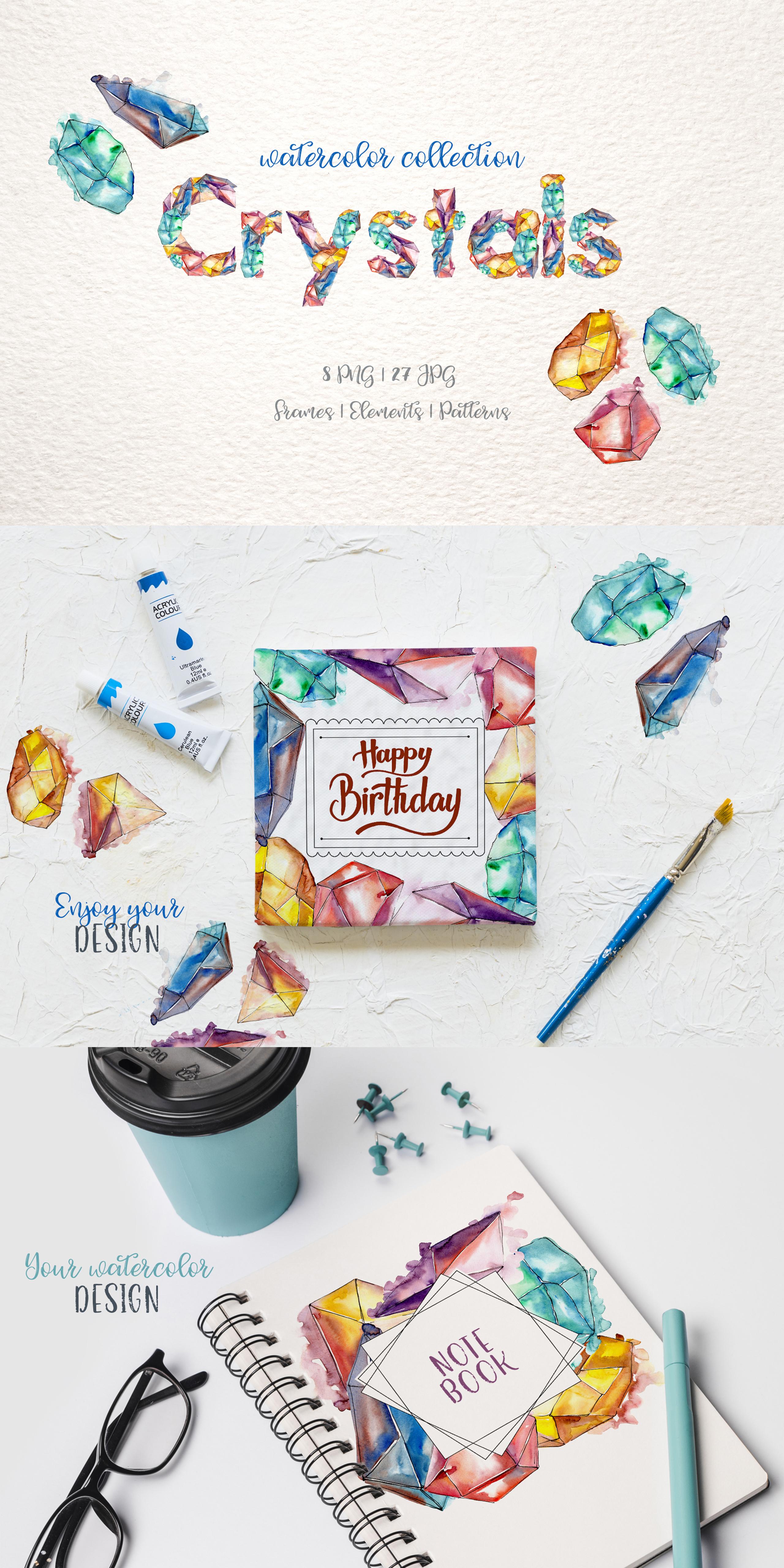 Crystals Watercolor Lilac Сolor png Illustrations