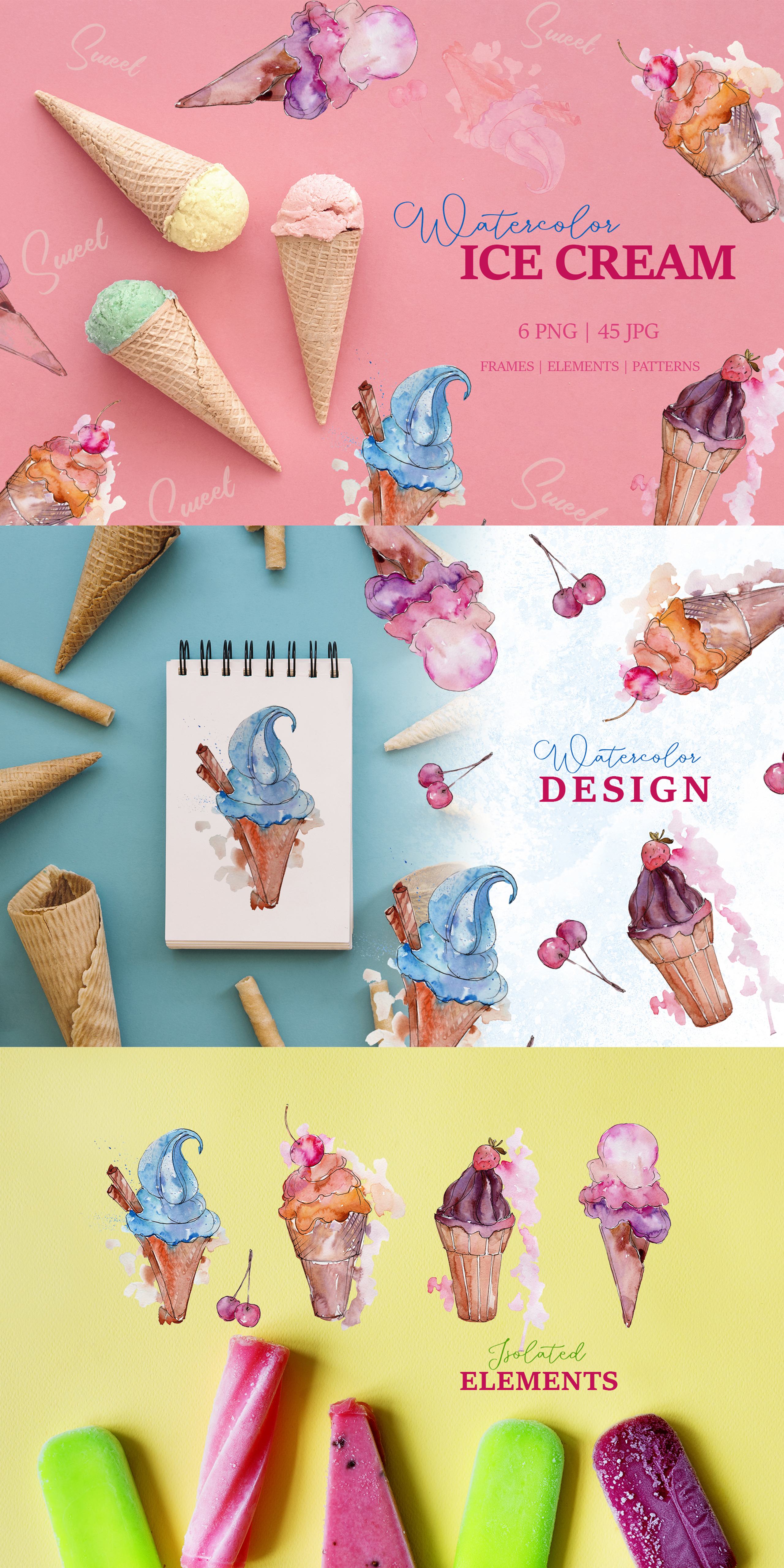 Appetizing Ice Cream Watercolor png Illustrations