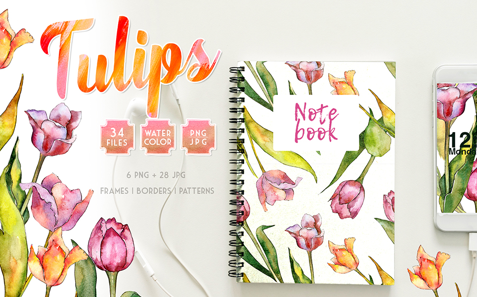 Tulips for Love  Watercolor png Illustrations