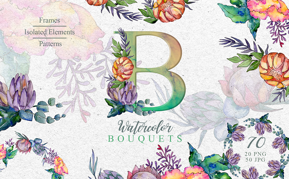 Bouquets A Special Case Watercolor Png Illustrations