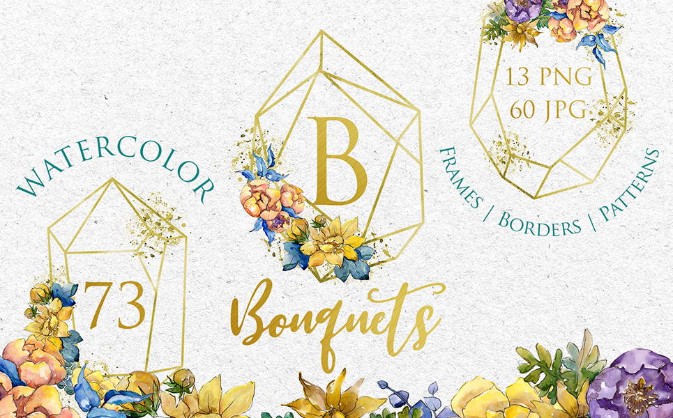 Bouquets Yellow Watercolor Png Illustrations