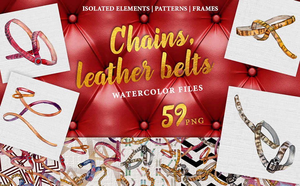 Chains, Leather Belts Watercolor png Illustrations