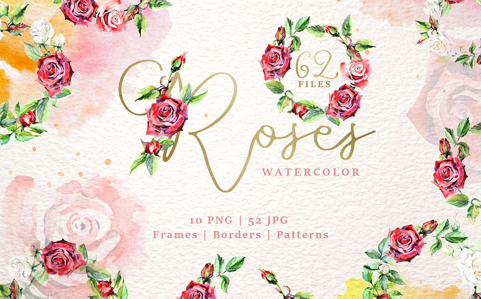 Wonderful Watercolor Red Roses PNG Illustrations