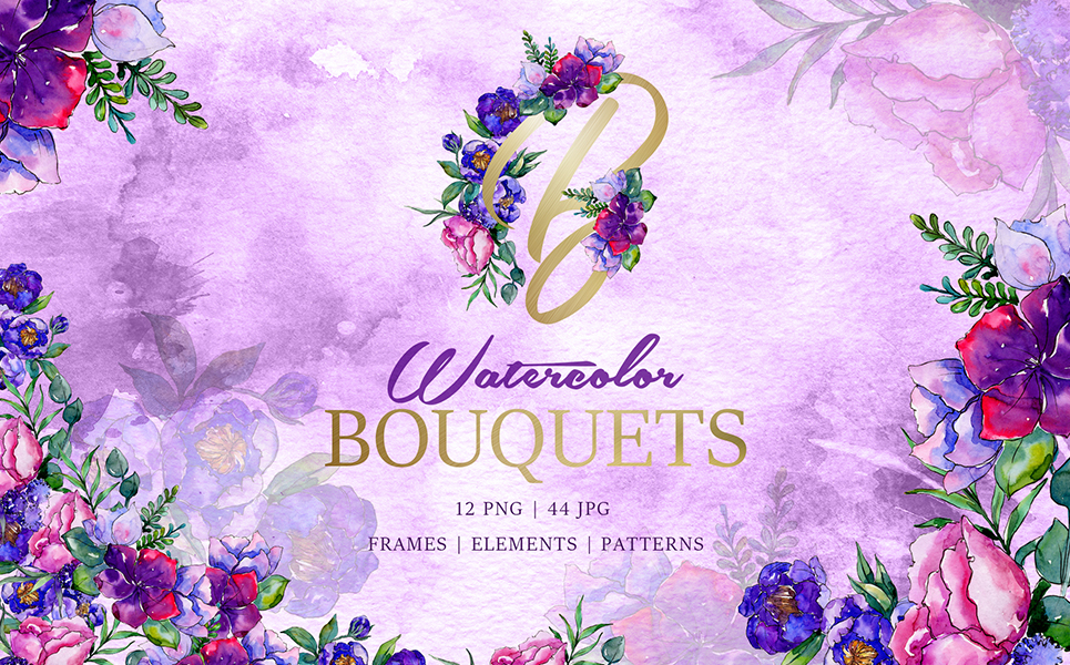 Bouquets Of Purple Flowers Watercolor PNG Illustrations