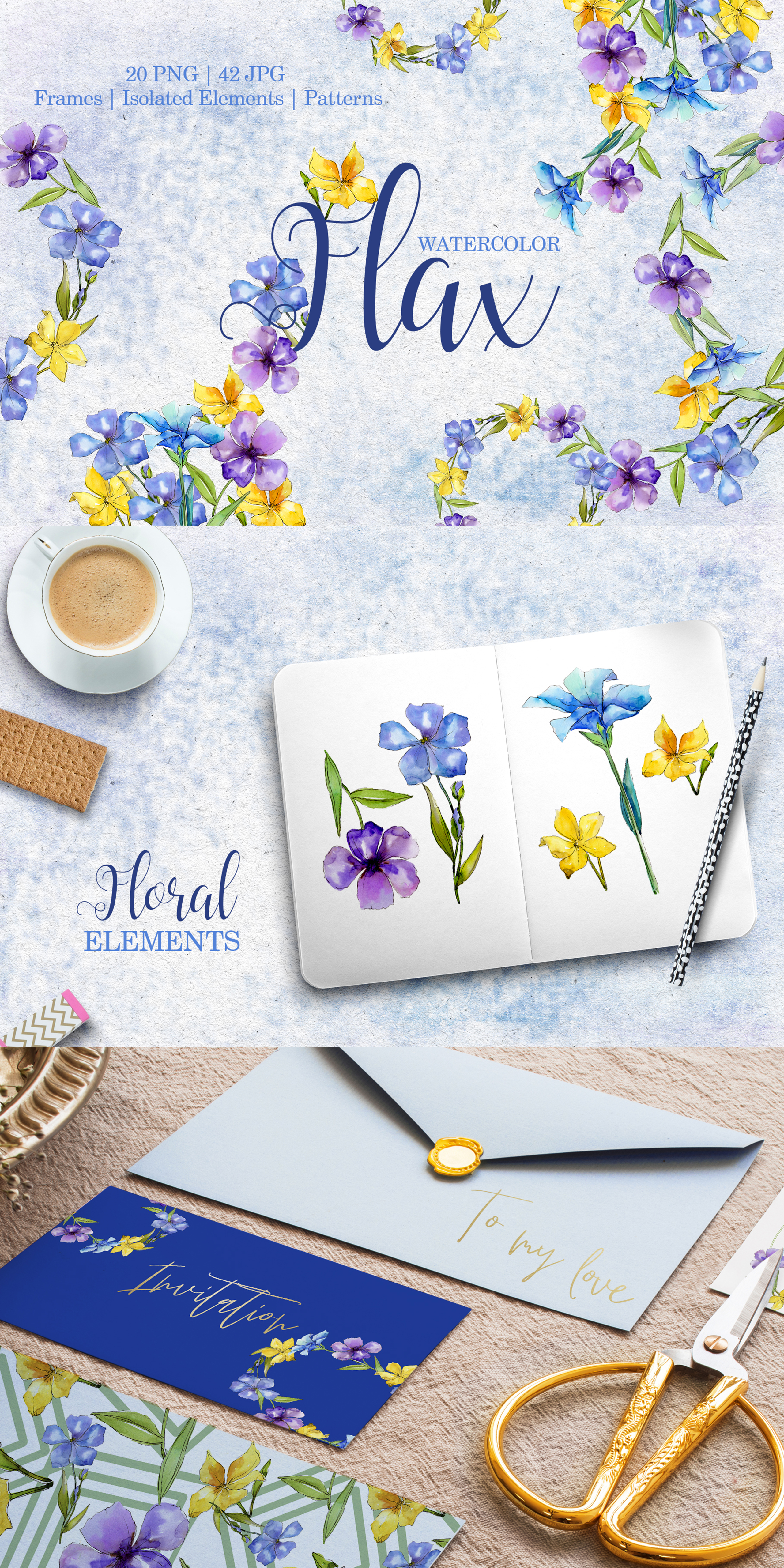 Flax Blue And Yellow Flowers Watercolor Png Illustrations