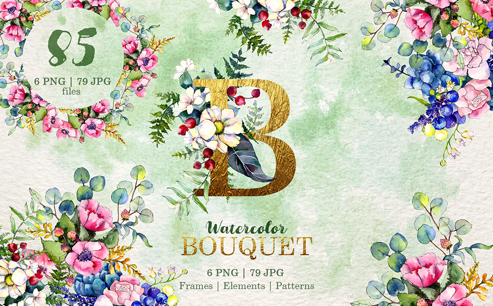 Gorgeous Flower Bouquets Watercolor Png Illustrations