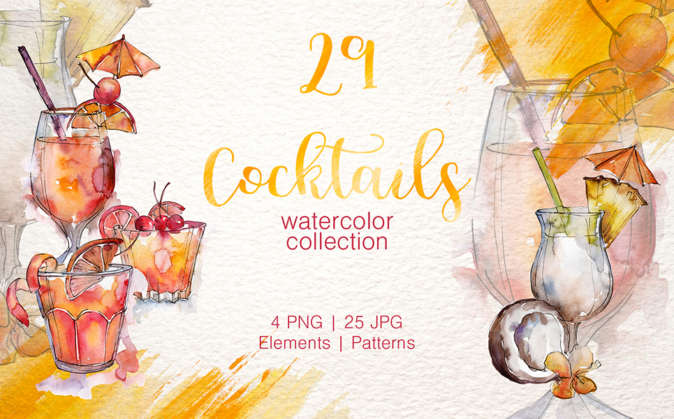 Cocktail Watercolor Png Illustrations