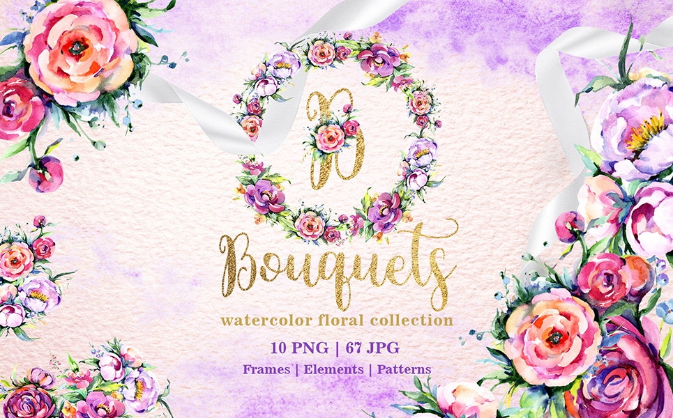 Bright Bouquets Watercolor Png Illustrations