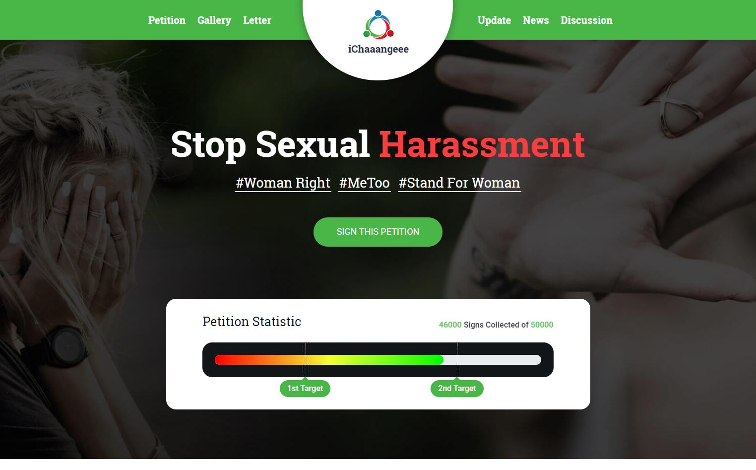 iChaaangeee Petition - Landing Page Template