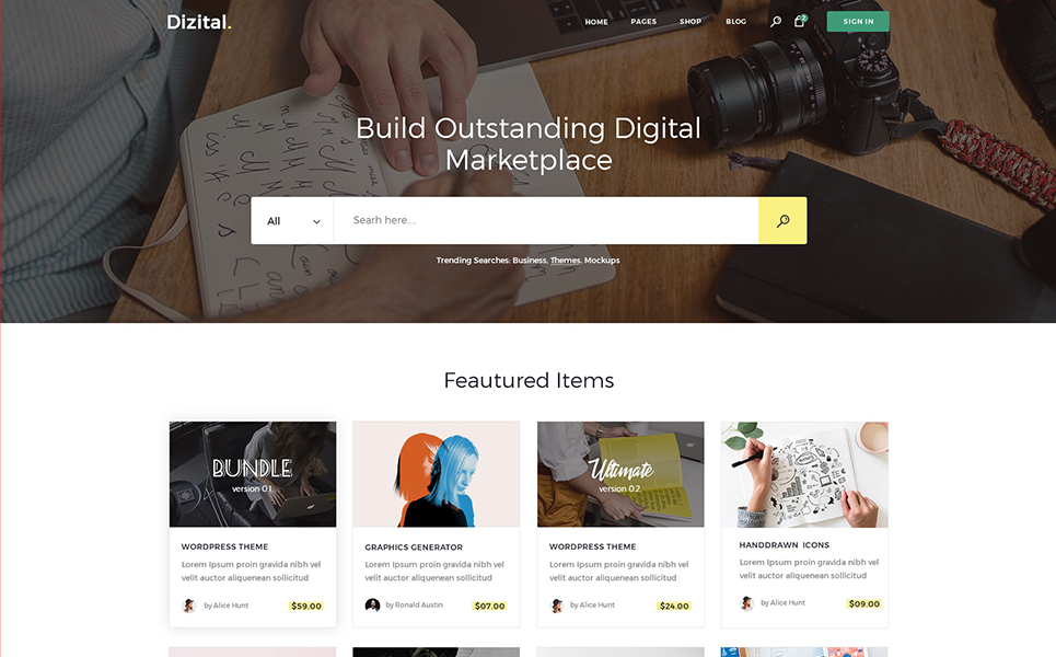 Dizital - Easy Digital Downloads WordPress Theme