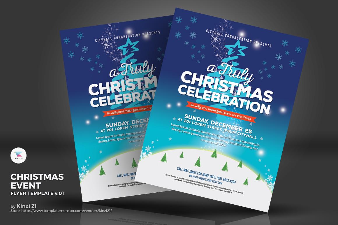 Christmas Event Truly Celebration Flyer Corporate Identity