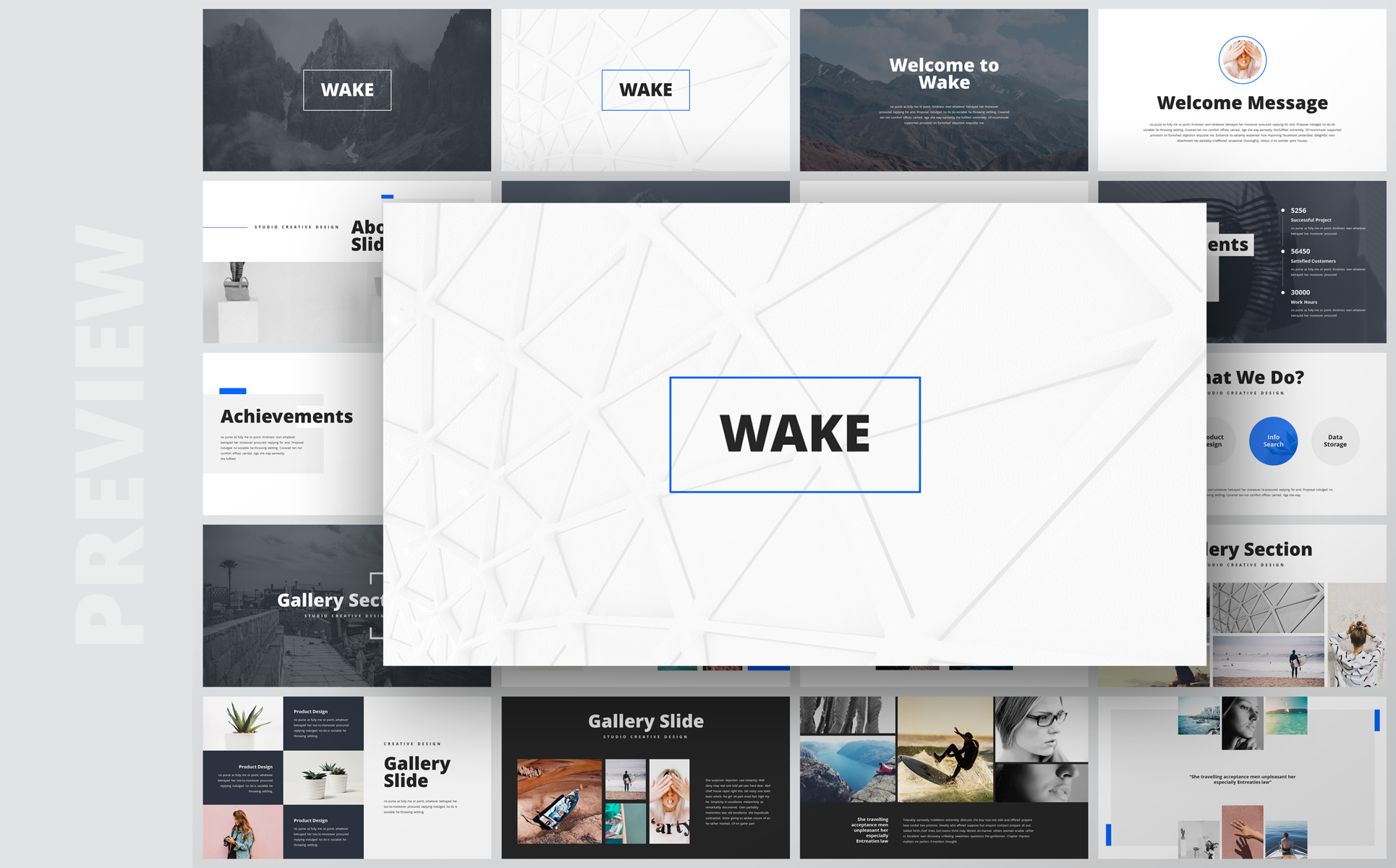 Wake- Modern & Stylist Presentation PowerPoint Template