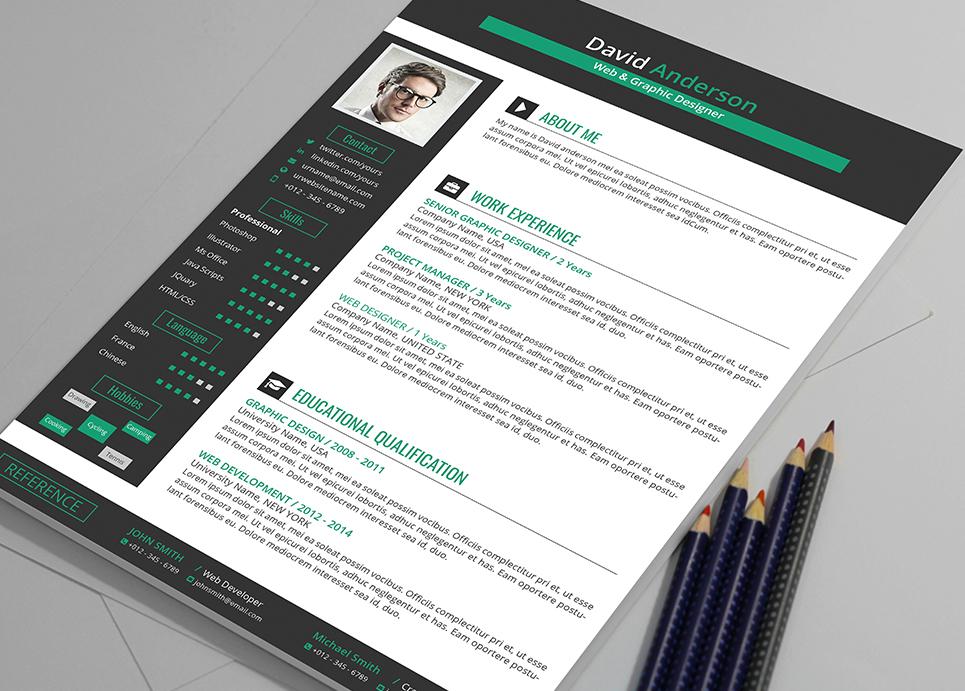David Anderson - Ms Word Format Web & Graphic Designer Resume Template