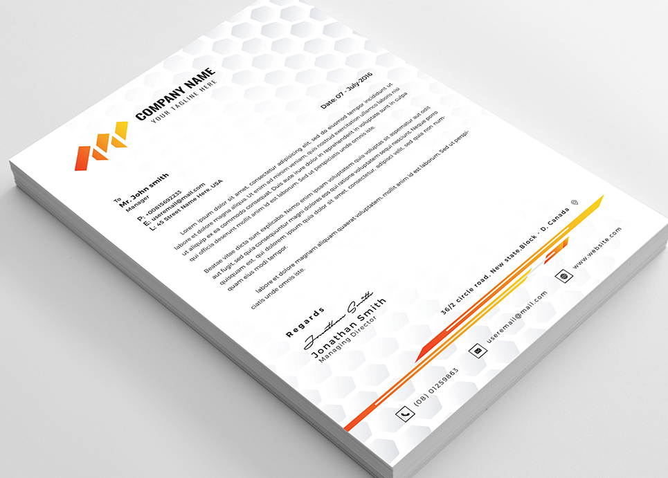 Honeycomb Letterhead Corporate Identity