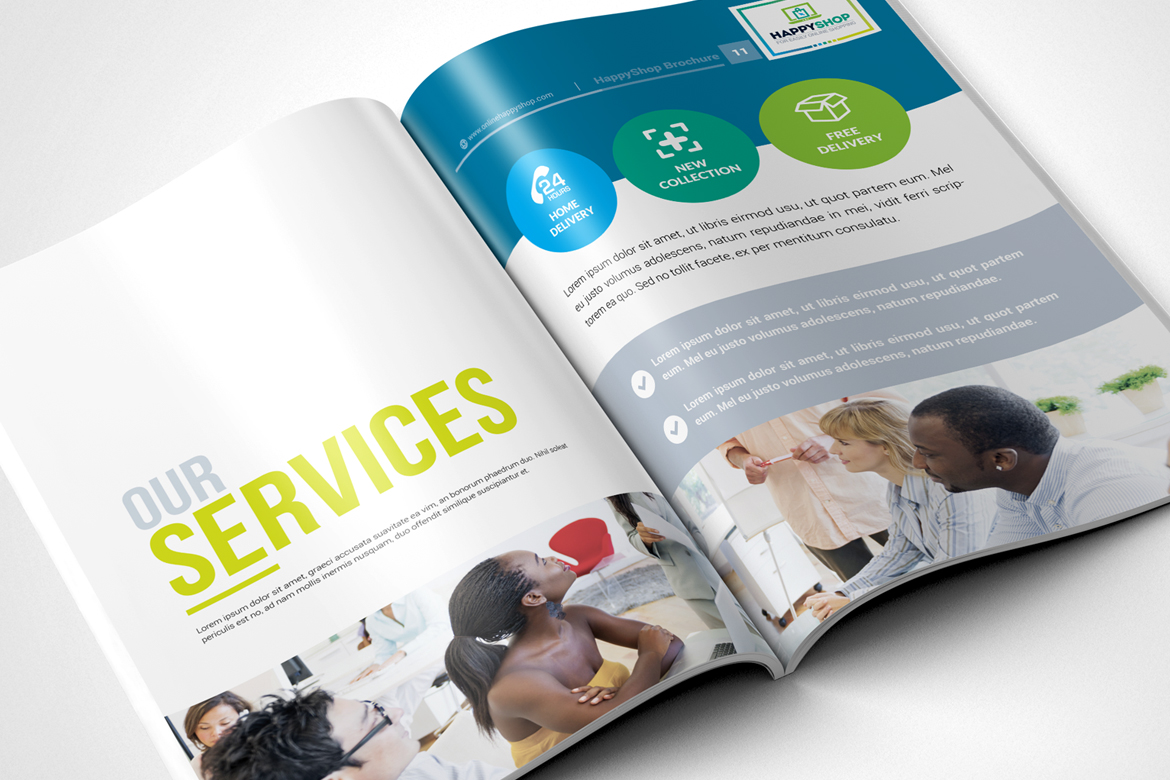 Bi-Fold Brochure  for E-Commerce and Online Shop Corporate Identity
