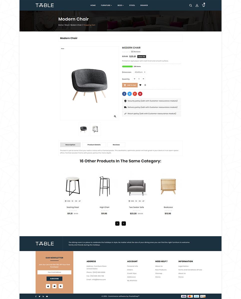 Furniture Table Mega Store PrestaShop Theme