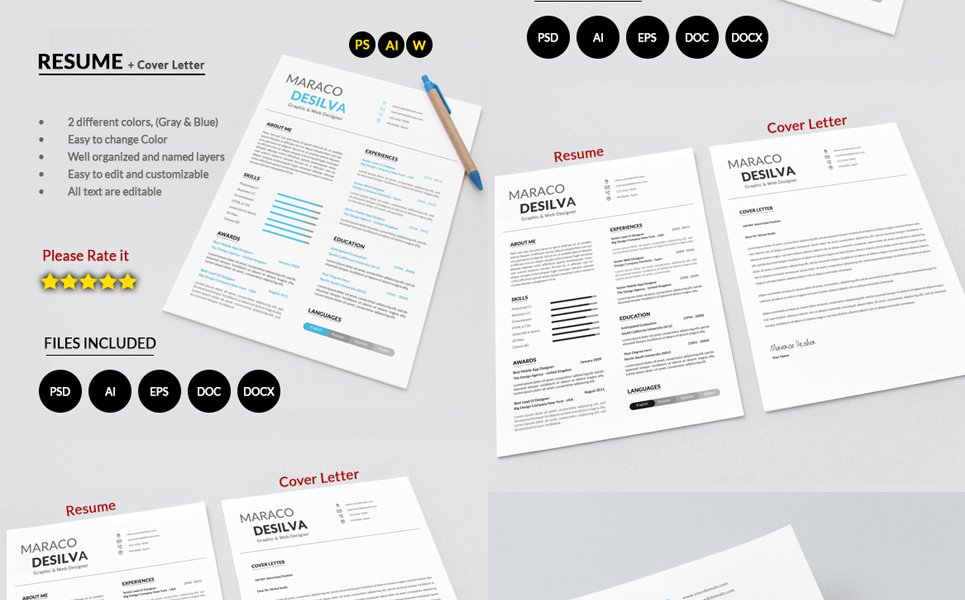 Maraco Desilva Graphic / Web Designer - Resume Template