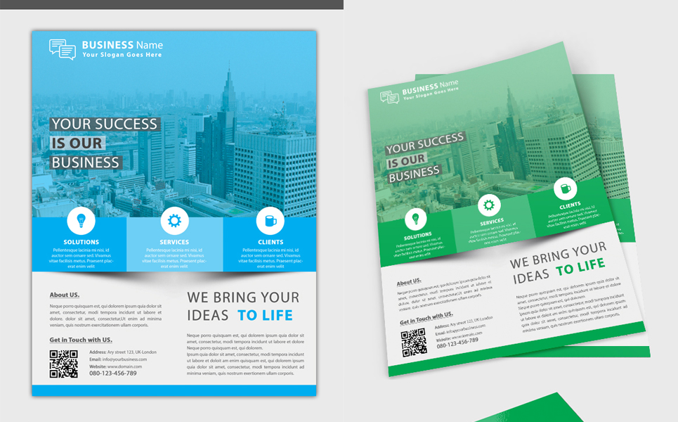 Business Flyer with Business Card Corporate Identity
