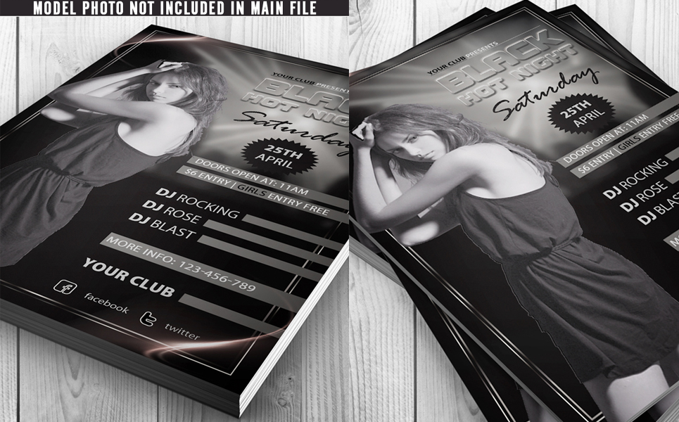 Black Hot Night Party Flyer Corporate Identity