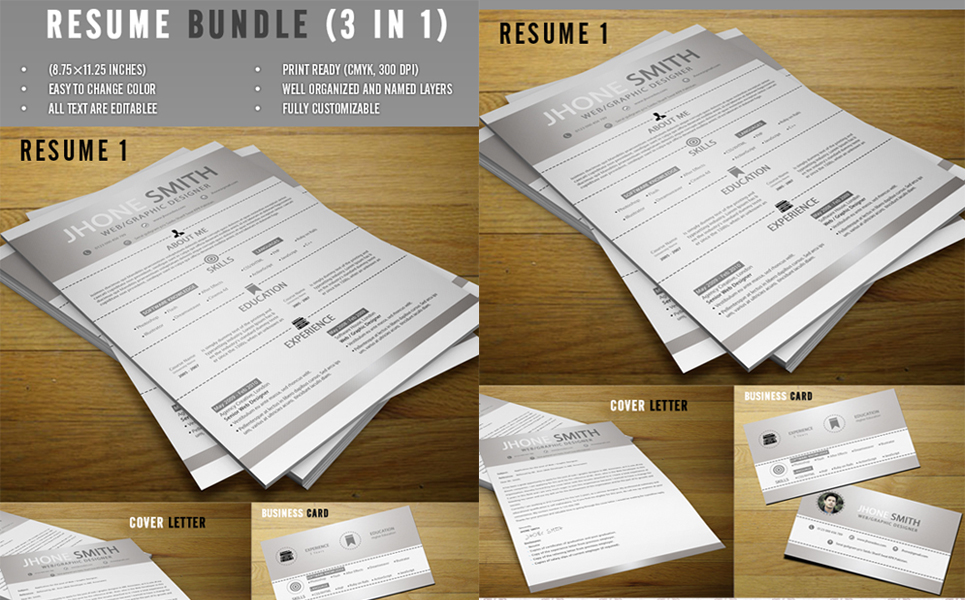 Jhon Deo - Bundle 3 in 1 Resume Template