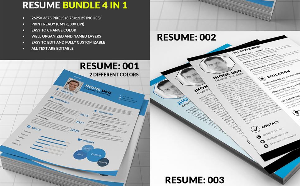 Bundle of Four CV Resume Template