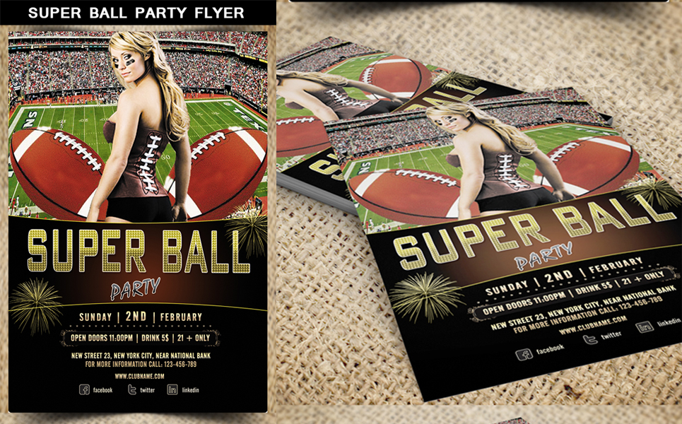Super Ball Party Flyer Corporate Identity
