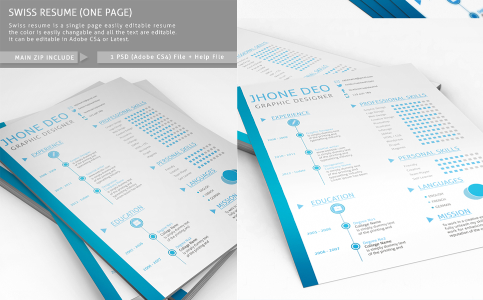Swiss Style One Page Resume Template