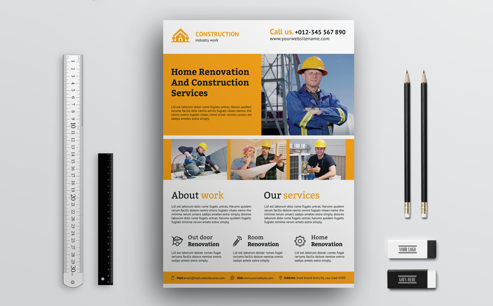 Creative Construction Flyer Corporate Identity