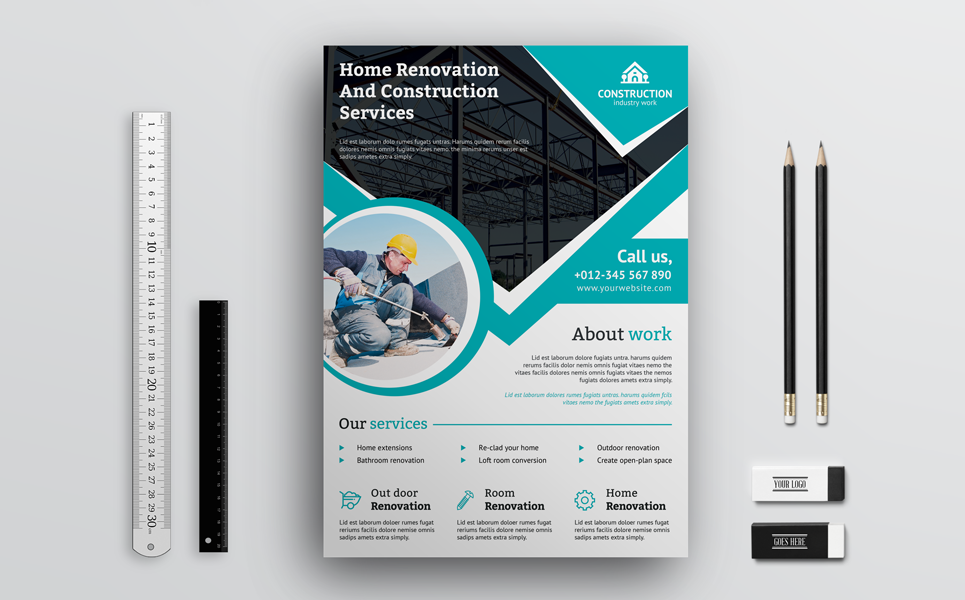 Home Renovation and Construction Flyer Corporate Identity