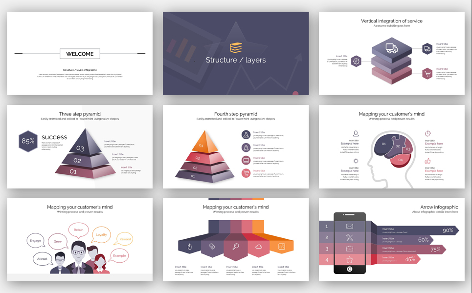 Structure & Layers Info Graphic PowerPoint Template