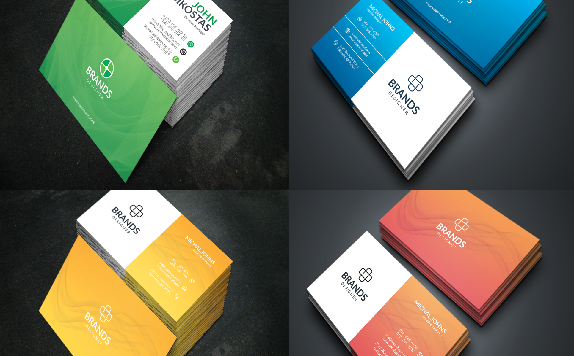 in One Print Ready Corporate Business Card Bundle - 144+ Items Corporate Identity
