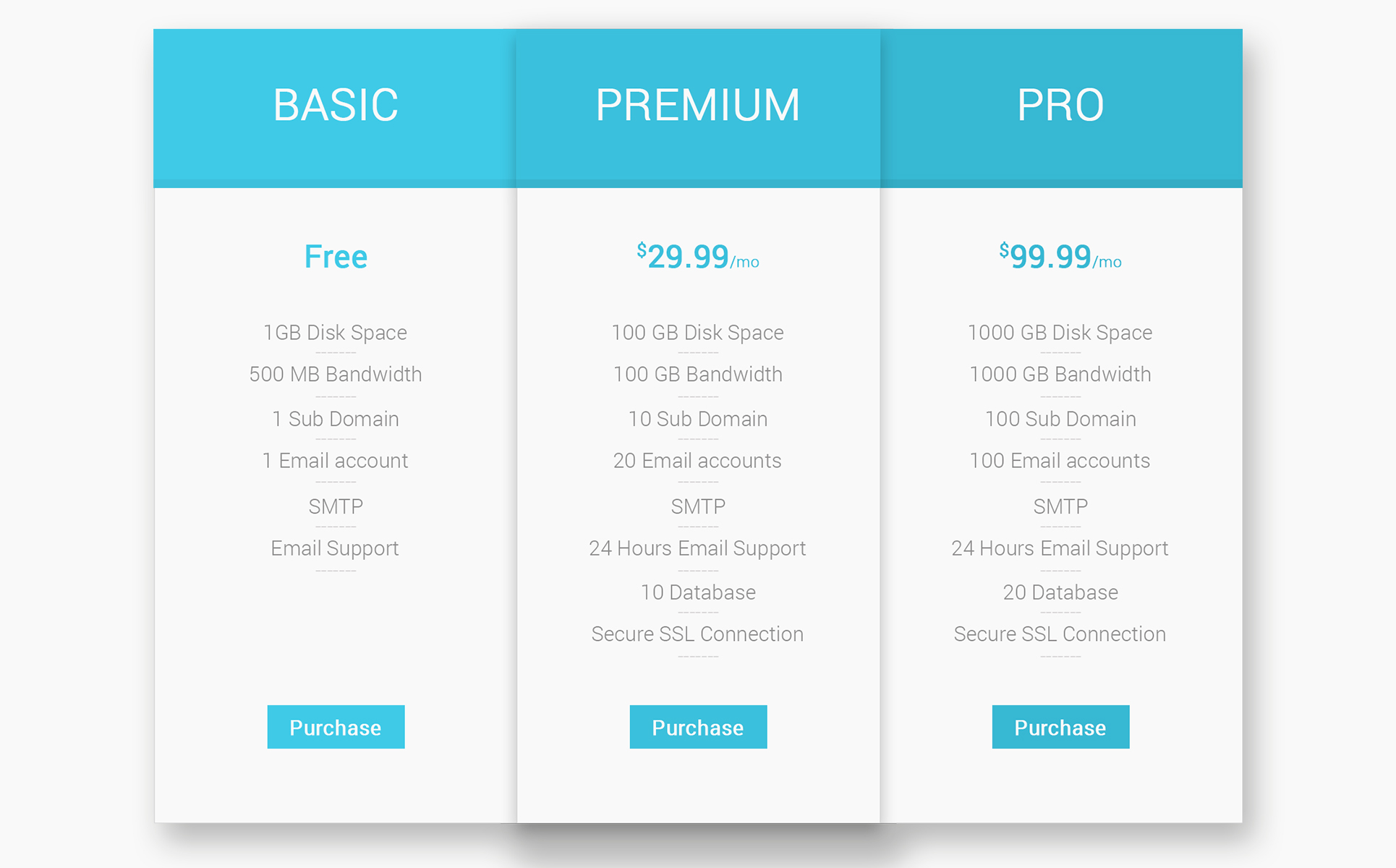 Hosting – Pricing Table Infographic Elements