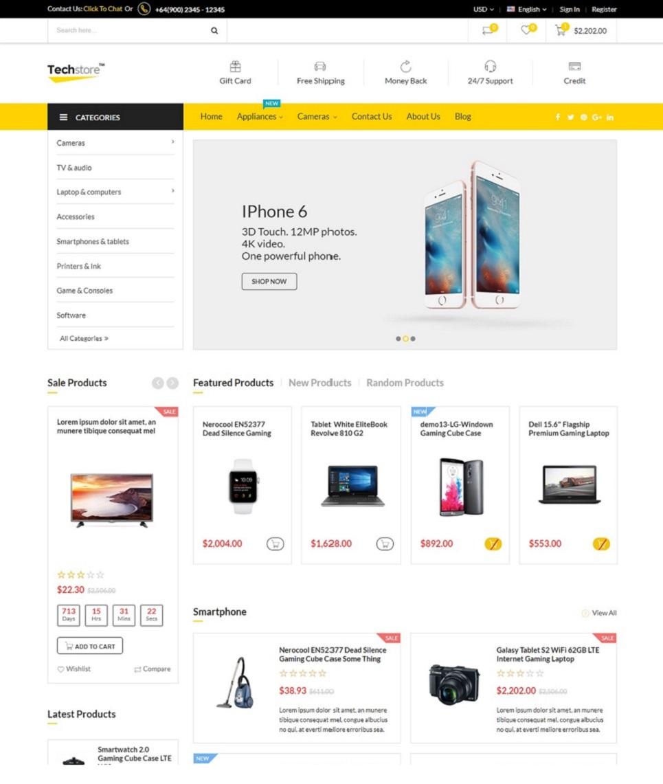 Techstore- Responsive Digital & Electronic - Marketplace Magento Theme